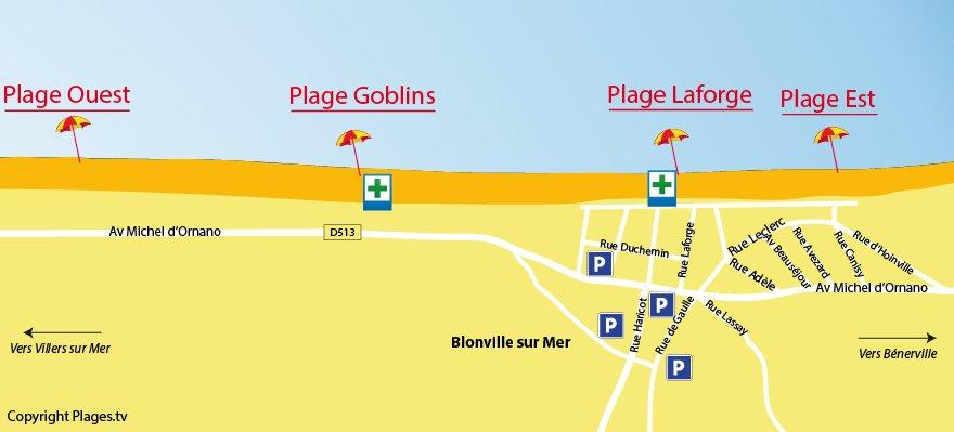 Plan des plages de Blonville sur Mer