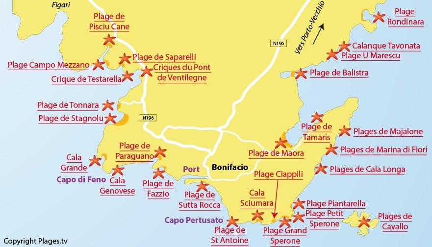 Plan des plages de Bonifacio