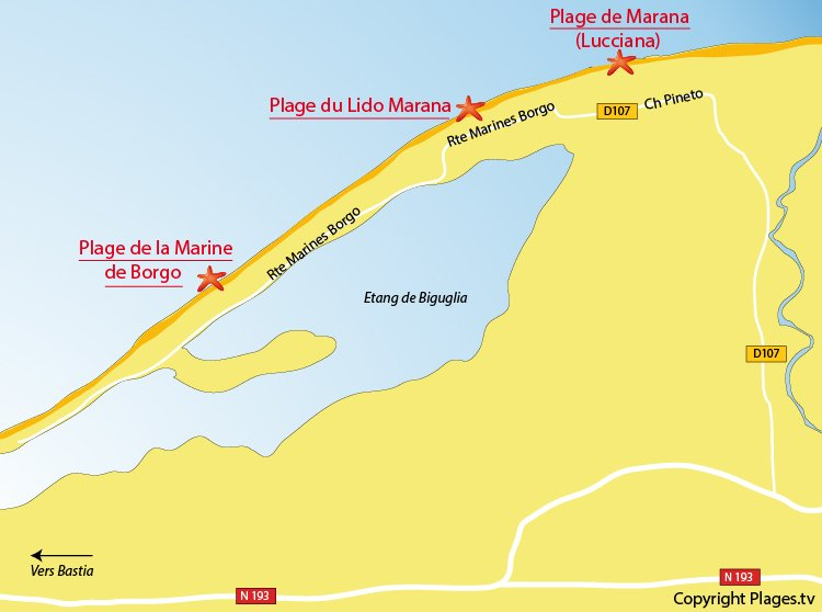 Carte des plages de Borgo en Corse