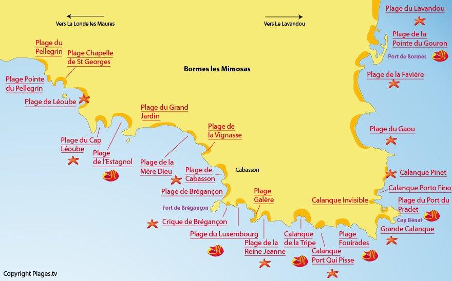 Carte des plages de Bormes les Mimosas dans le Var