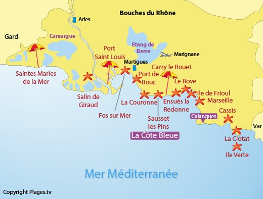 Map of the Bouches du Rhone beaches in France