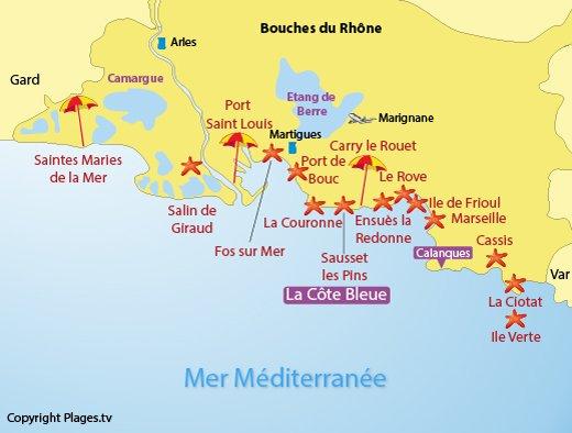 Carte des plages des Bouches du Rhône