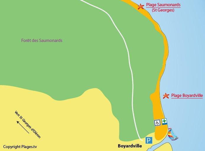 Carte des plages de Boyardville sur l'Ile d'Oléron