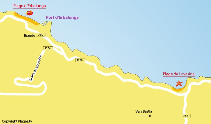Carte des plages de Brando en Corse