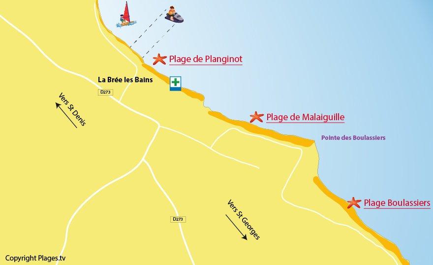 Plan des plages de La Brée les Bains sur l'ile d'Oléron