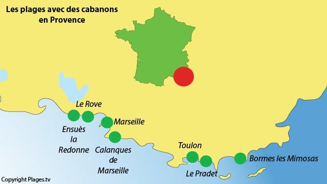 Carte des plages avec des cabanons dans le sud de la France