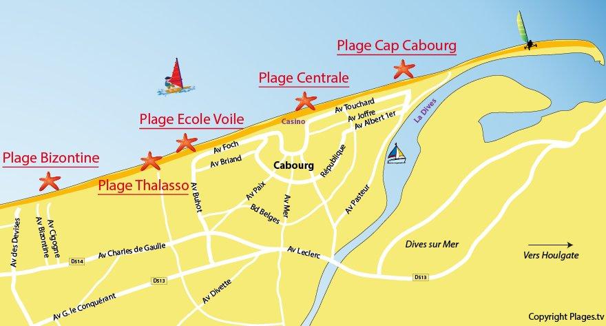 Plan de la plage de Cabourg