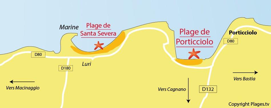 Carte des plages de Cagnano dans le Cap Corse