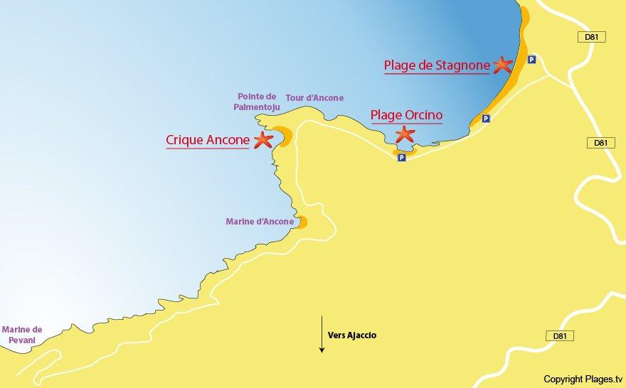 Carte des plages de Calcatoggio en Corse