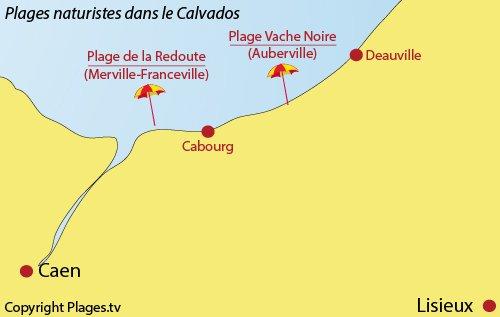 Carte des plages naturistes dans le Calvados (Normandie)