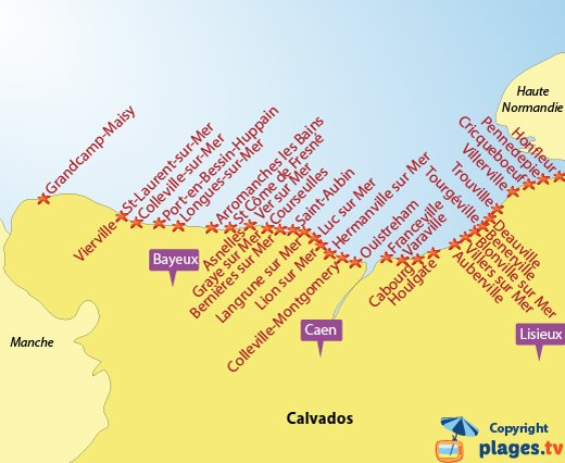 Map of Calvados beaches and seaside destinations