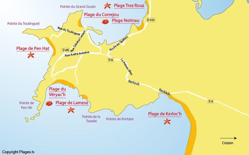 Carte des plages de Camaret sur Mer sur la presqu'ile de Crozon - Bretagne