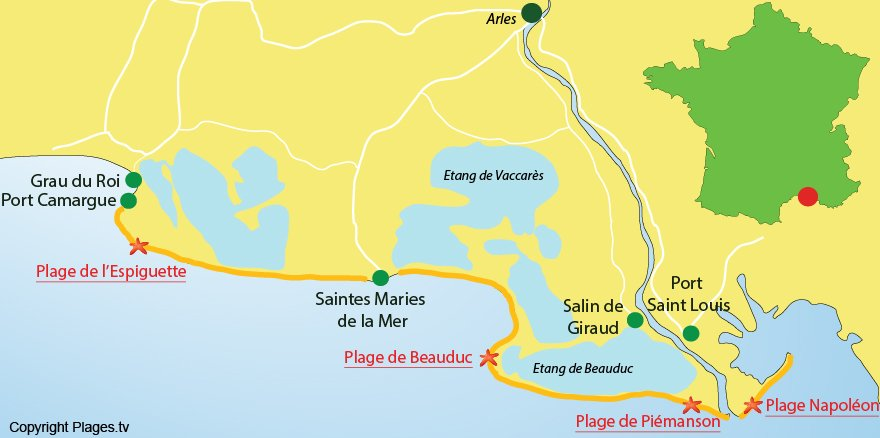 Carte des plages en Camargue