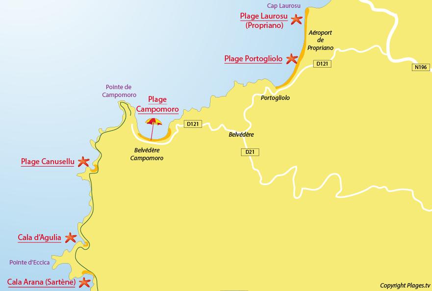 Carte des plages de Campomoro en Corse
