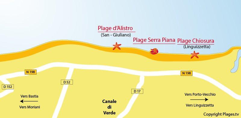 Plan des plages de Canale di Verde en Corse