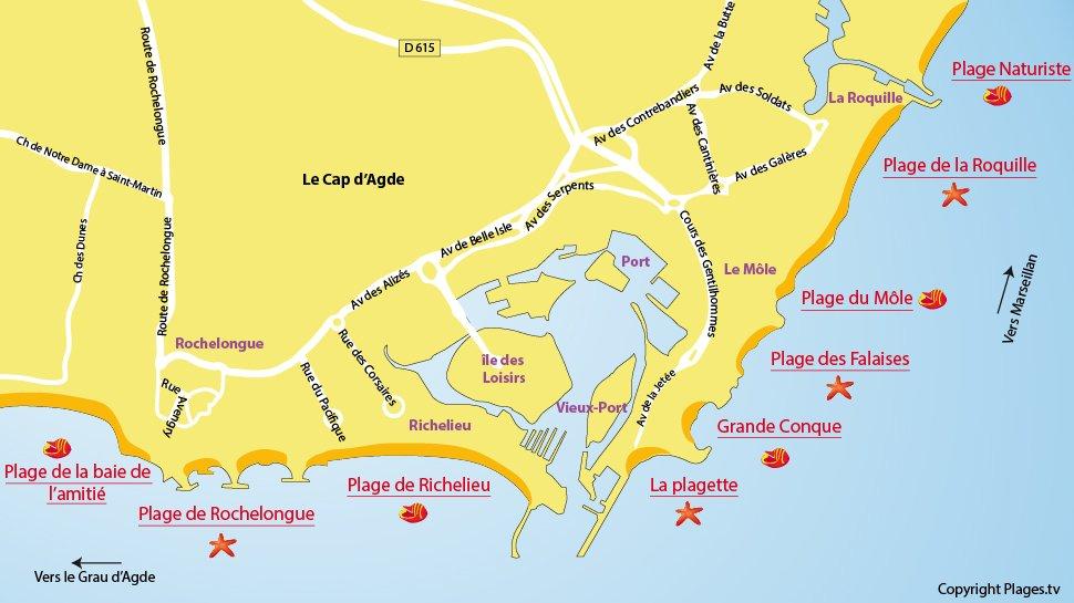 Plan des plages du Cap d'Agde 34