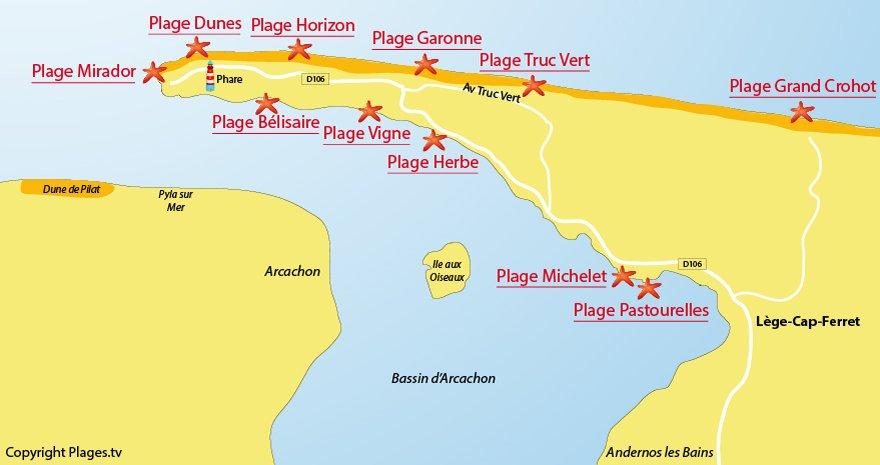 Plan des plages du Cap Ferret