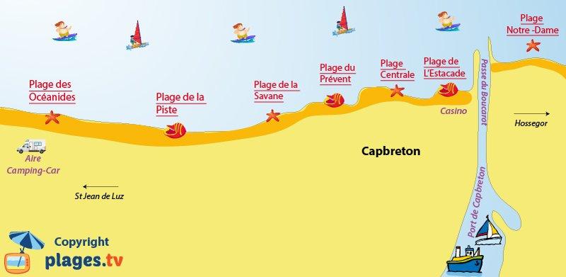 Carte des plages à Capbreton dans les Landes