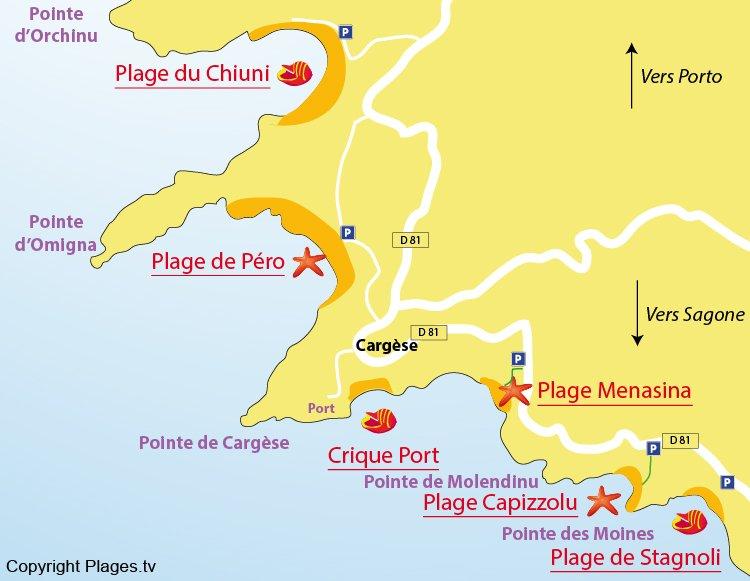 Carte des plages de Cargèse en Corse