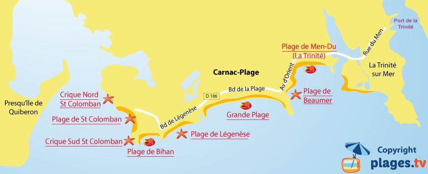Carte des plages de Carnac dans le Morbihan