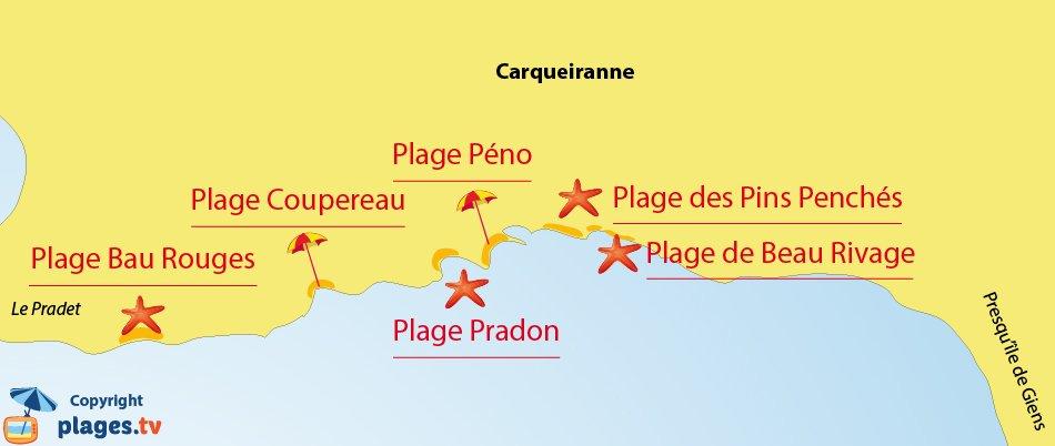 Carte des plages de Carqueiranne