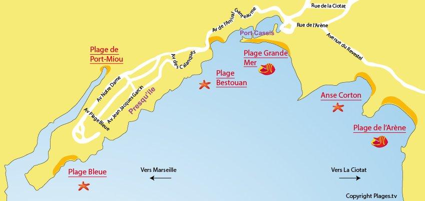 Plan des plages et calanques de Cassis
