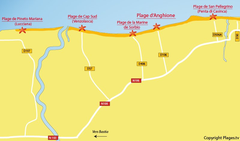 Plan des plages de Castellare en Corse