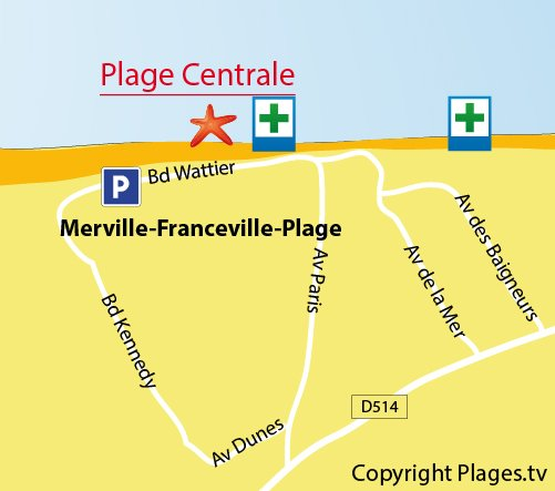 Map of Central Beach in Merville-Franceville