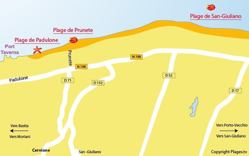 Plan des plages de Cervione en Corse