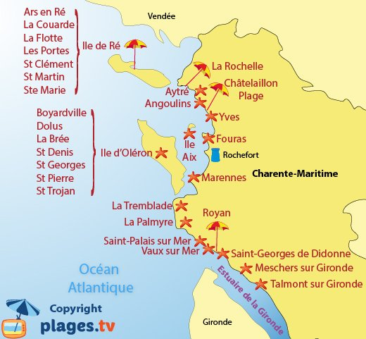 Map of beaches and seaside resorts in Charente Maritime in France