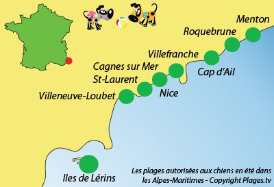Carte des plages autorisées aux chiens dans les Alpes Maritimes (06)