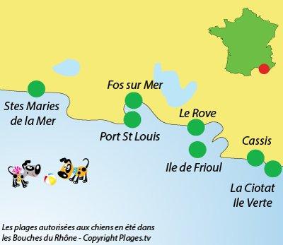 Carte des plages pour les chiens dans les Bouches du Rhône
