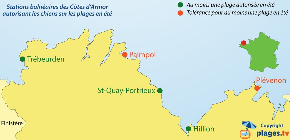 Carte des plages où les chiens sont autorisés dans les Côtes d'Armor - Bretagne