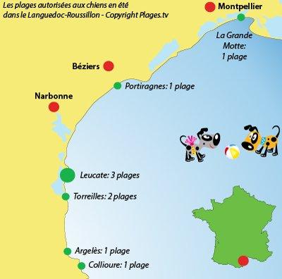 Carte des plages autorisées aux chiens dans le Languedoc Roussillon
