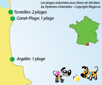 Carte des plages autorisées aux chiens dans les Pyrénées Orientales (66)