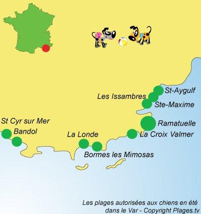 Carte des plages pour les chiens dans le Var