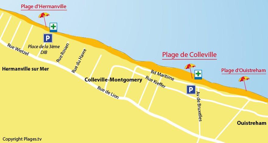 Plan des plages de Colleville-Montgomery dans le Calvados