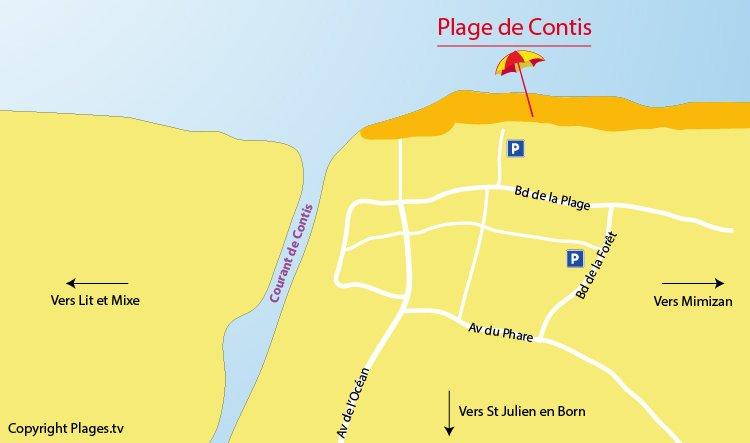 Plan de la plage de Contis