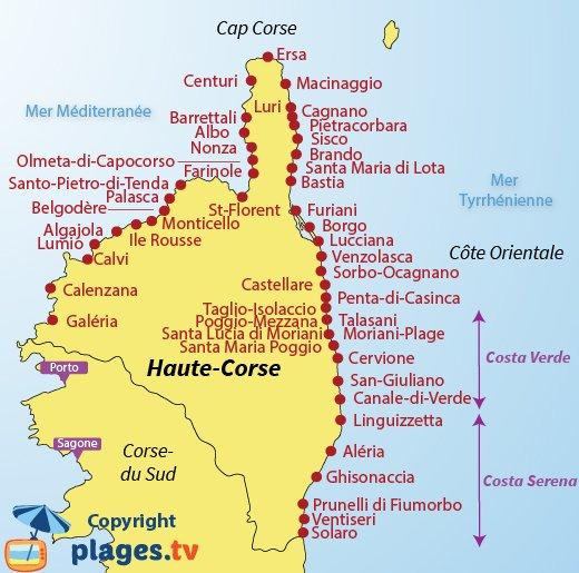 Carte des plages de la Haute Corse