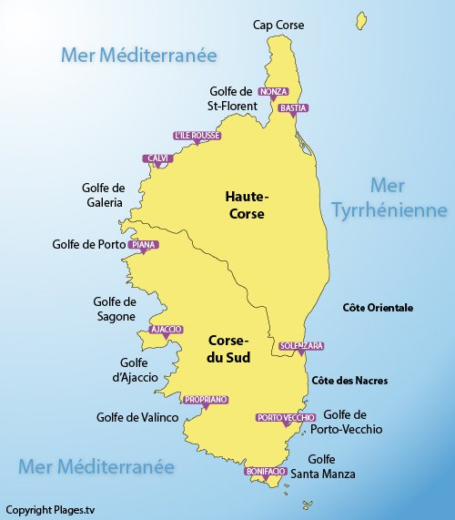 Carte des plages de la Corse et de ses stations balnéaires