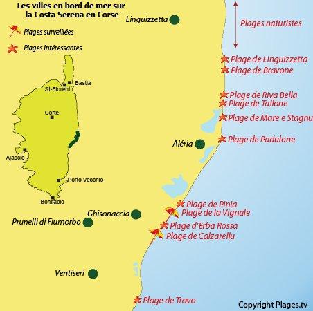Carte des plages de la Costa Serena en Corse
