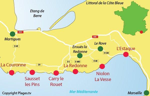 Carte des stations balnéaires et des calanques de la Côte Bleue