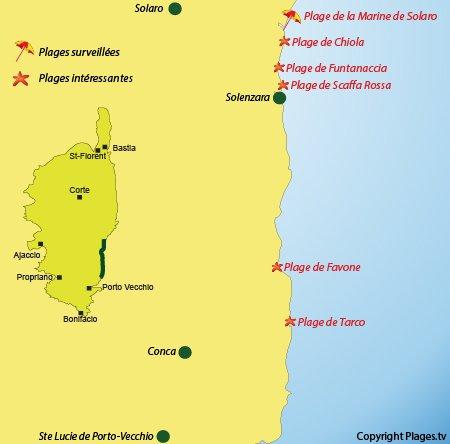 Carte des plages et des stations balnéaires de la Côte des Nacres - Corse