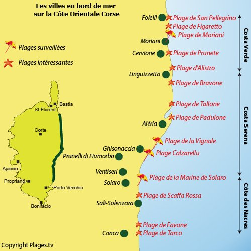 Plan des plages et des villes du bord de mer de la Côte Orientale Corse