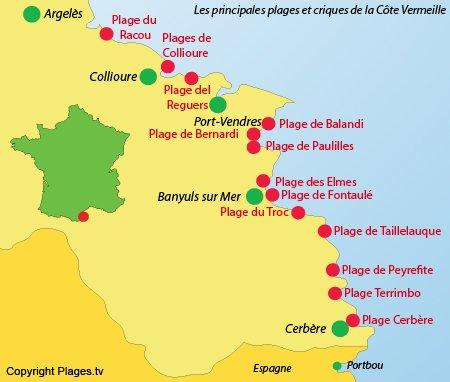 Carte des plages de la Côte Vermeille