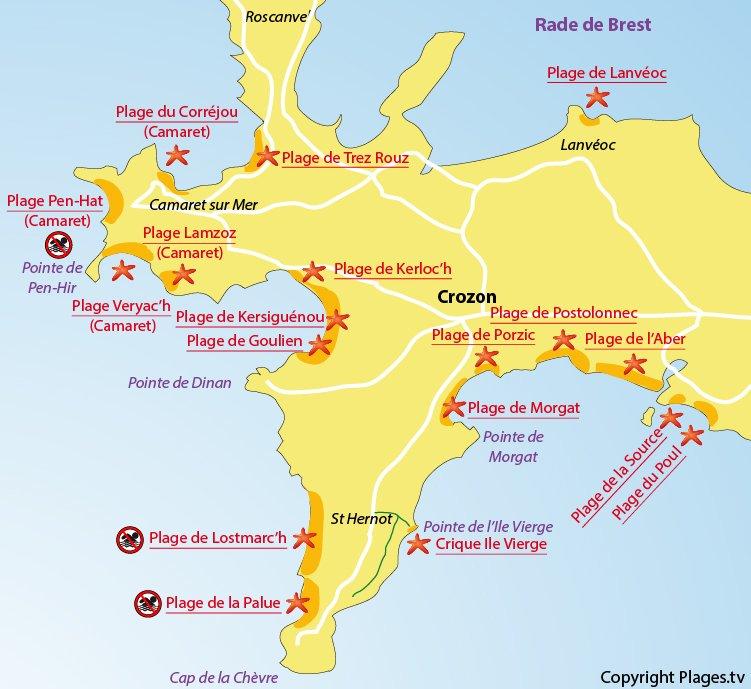 Carte des plages de Crozon