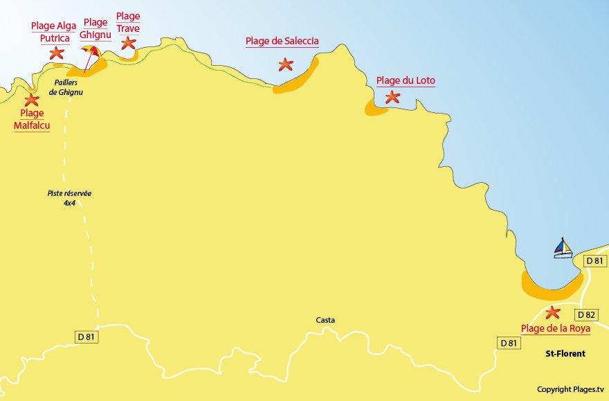 Carte des plages dans le désert des Agriates autour de St Florent et Casta