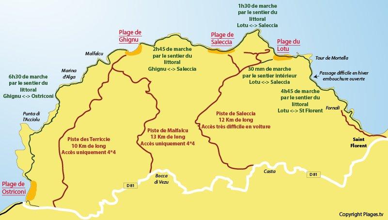 Mappa delle spiagge e l'accesso al deserto di Agriates - Corsica