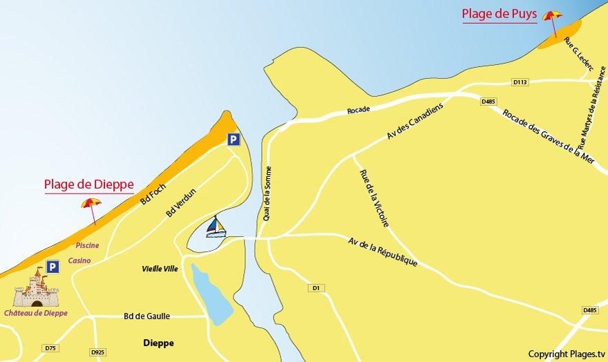 Plan des plages à Dieppe