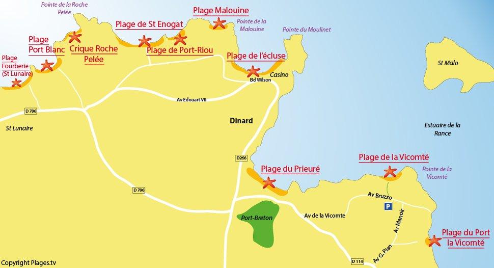 Plan des plages de Dinard en Bretagne